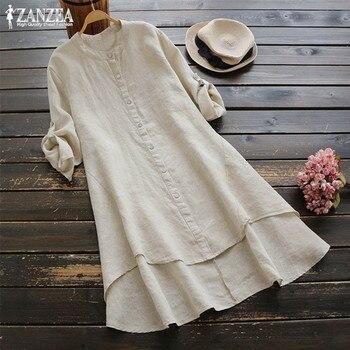 цена Plus Size Tunic Women's Button Sundress ZANZEA 2020 Spring Casual Linen Shirts Vestidos Vintage Female Long Sleeve Blusas Tunic онлайн в 2017 году