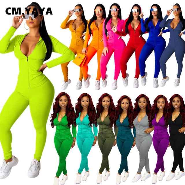 CM.YAYA autumn Women Solid zipper up long sleeve hooded top pencil pants suit two piece set casual sporting tracksuit outfit 1