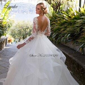 Image 5 - Liyuke Ruffles bir çizgi düğün elbisesi prenses uzun kollu Backless gelinlik