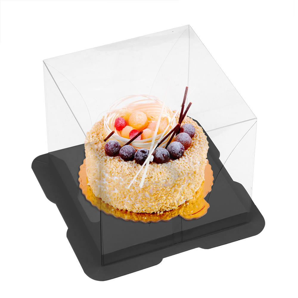 HOOMIN Clear Cupcake Box Weddding Party Cake Packing Gift Box With Bottom Bracket Candy Cake Box Food Transport PET Square