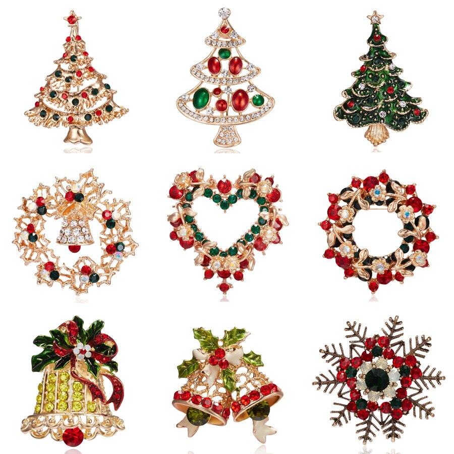 Модная брошь в виде рождественской елки, новогодняя эмалированная Брошь Стразы с кристаллами, булавки для женщин, детей, фотоподарок