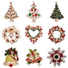 Moda Broche Árvore de Natal Árvores de Natal de Ano Novo Rhinestone Cristal Esmalte Pinos Broche Mulheres Crianças Festival de Presente Da Jóia