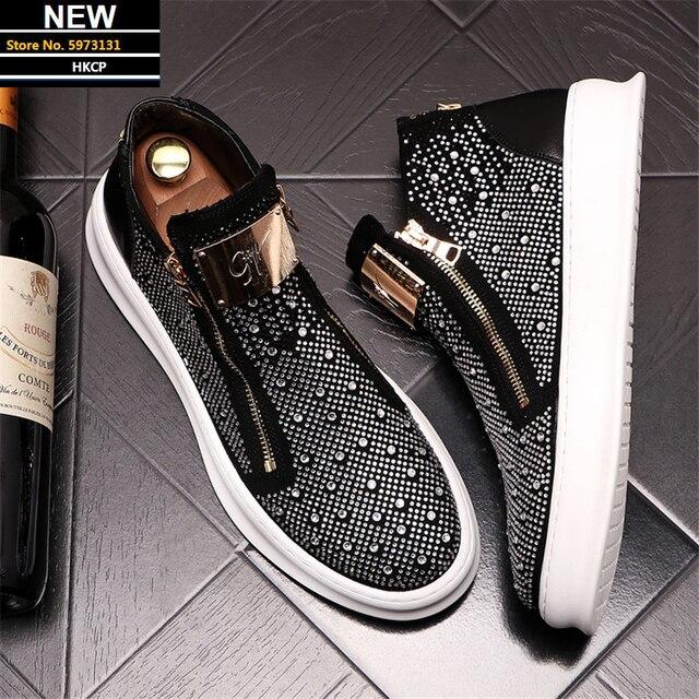 Zapatillas de deporte con cremallera para Hombre, zapatos planos informales Punk con diamantes de imitación brillantes plateados 1