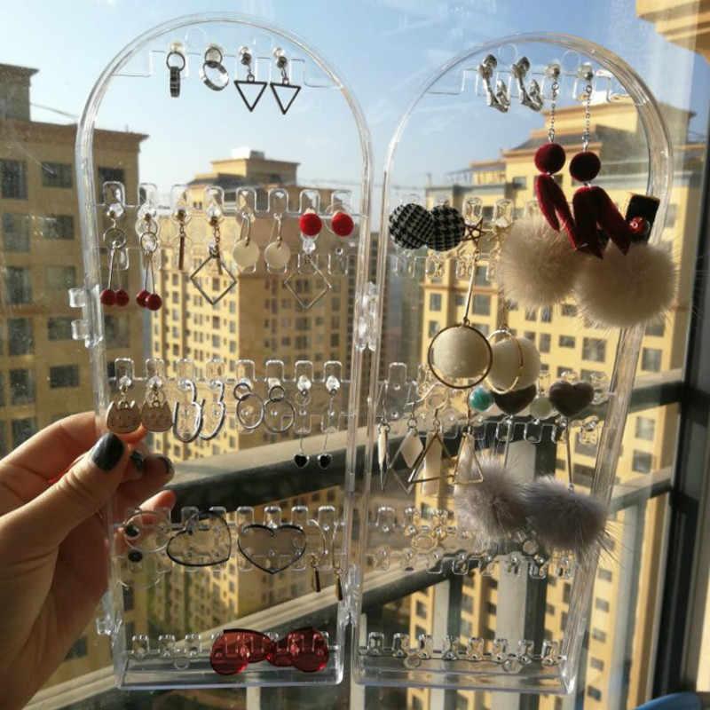 2/4 غيتس البلاستيك القرط رف شاشة قابلة للطي مجوهرات المنظم عقد من الأكريليك حامل رف شفاف مجوهرات عرض الرف