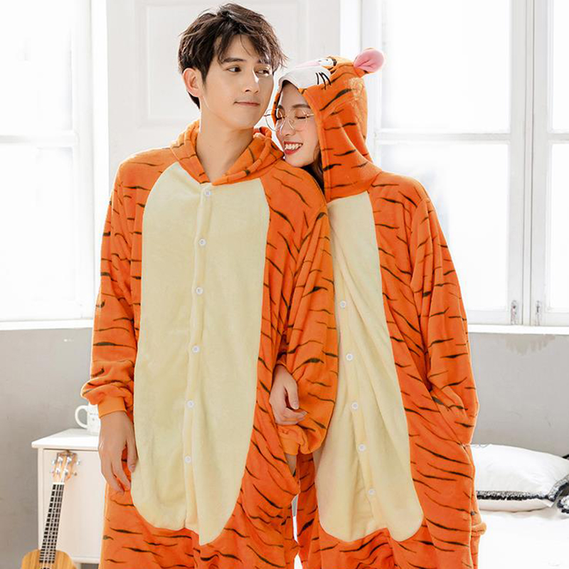 Unicorn Pajamas Animal Cartoon Panda Onesies Winter Flannel Men Women Jumpsuit Adult Nightie Stitch Unicorn Sleepwear