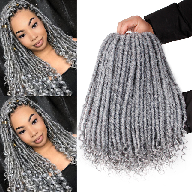 """black star Long 20"""" Goddess Locs Crochet Braiding Hair Synthetic Faux Locs Crochet Hair with Curly Ends Hair Extension for Girl"""