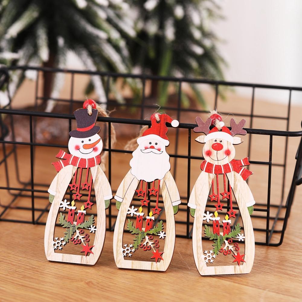 3PCS Christmas Wooden Hollow Tree Decoration Pendant House Santa Snowman Elk Craft
