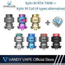 Oryginalny Vandyvape Kylin M atomizer rta z cewką Kylin M 4 rodzaje alternatywny regulowany 3ml do 4 5ml pojemność papieros elektryczny tanie tanio VANDY VAPE Vandyvape Kylin M RTA Tank Metal Wymienne Kylin M Coil 34mm x 24mm 3ml 4 5ml