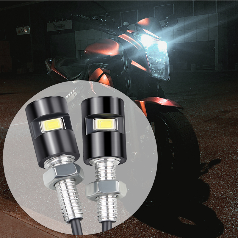 1 Pair modified motorcycle eagle eye lamp license plate screw light electric car motorcycle universal 12V LED decorative light