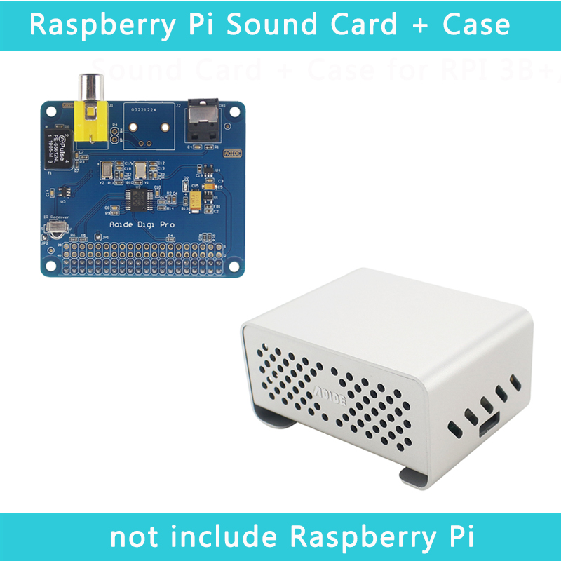 Raspberry Pi AOIDE DIGI PRO Digital Sound Card Board | Aluminum Alloy Case Metal Shell For Raspberry Pi 3 Model B+/3B
