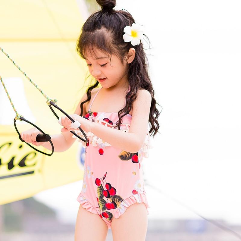 CHILDREN'S Swimwear GIRL'S Swimsuit Big Boy Baby One-piece Triangular South Korea Princess Students Large Size Swimwear Women's