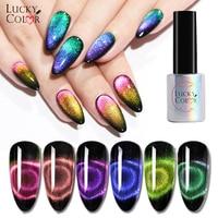 6pcs/set Lucky Color 9D Magic Chameleon Cat's Eye Nail Gel Polish UV Gel Lacquer Laser Holographic Glitter Gel Soak Off Art Kits