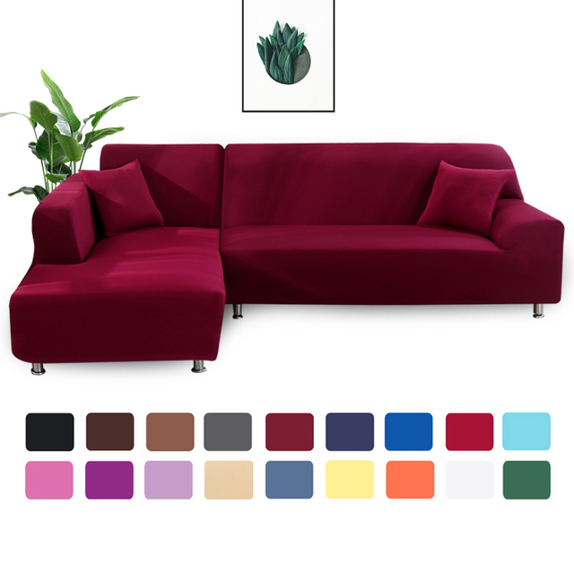 Solid Color Wraping Corner Sofa Cover 2
