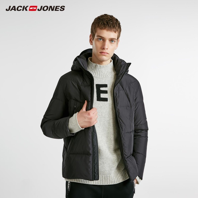 JackJones Winter Men's Trend Hooded Basic Down Jacket Fashion Parka Coat Menswear 218412511
