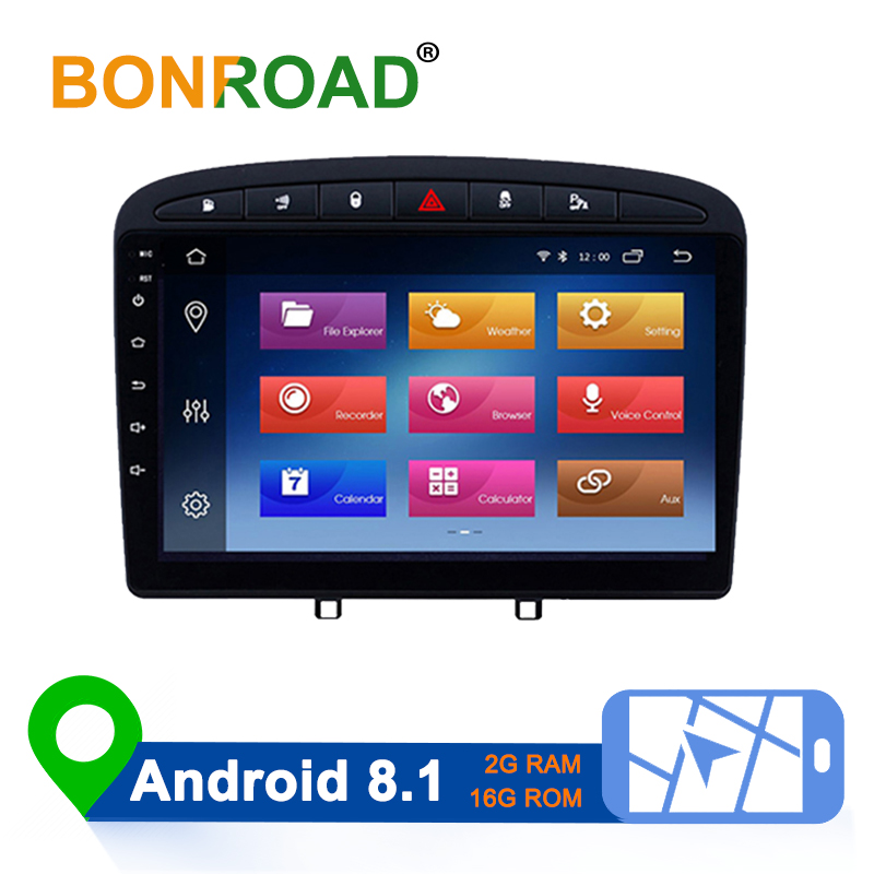 Bonroad Android8.1 Autoradio For <font><b>Peugeot</b></font> 308 408 <font><b>308SW</b></font> 2007-2014 Car <font><b>Radio</b></font> Multimedia GPS Navigation Player 2.5D HD Touch Screen image