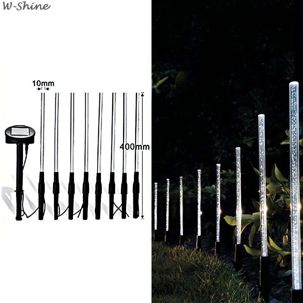 8Pcs Solar Tube Light Bubbles Stick Solar Lamp Pathway Lawn Landscape Decoration Acrylic Outdoor Garden Patio Lamps Set