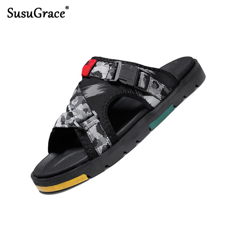 Susugrace 2020 New Summer Men Casual Slippers Flat Fashion Slides Outdoor Light Beach Flip-flops All Match Zapatos De Hombre