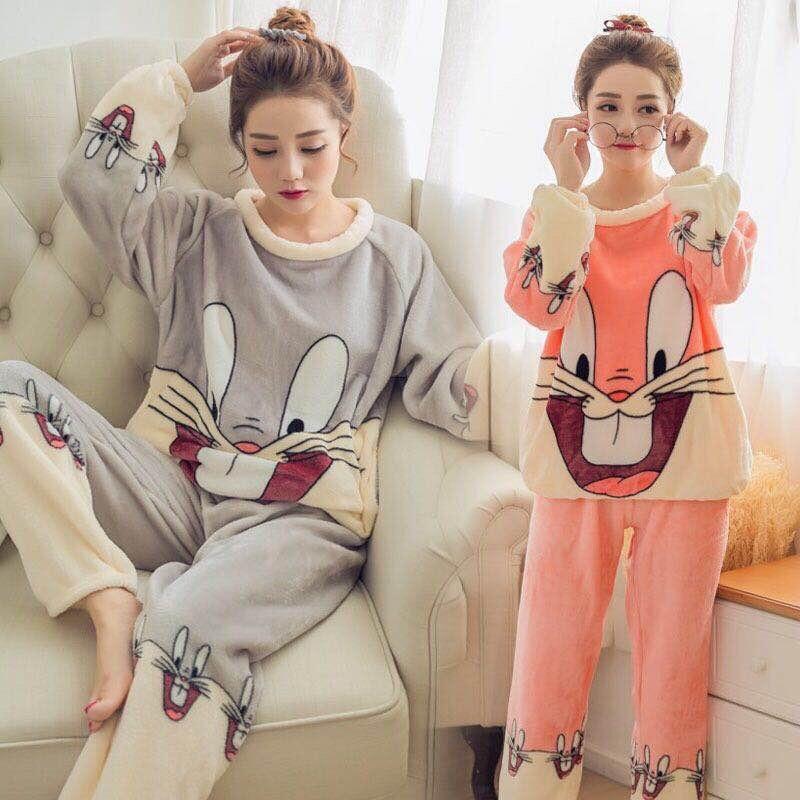 Flannel Warm Pajamas For Women Long Sleeve House Suit Ladies Cute Cartoon Pink Full Length Velvet Pajamas Thick Feminino Pyjamas