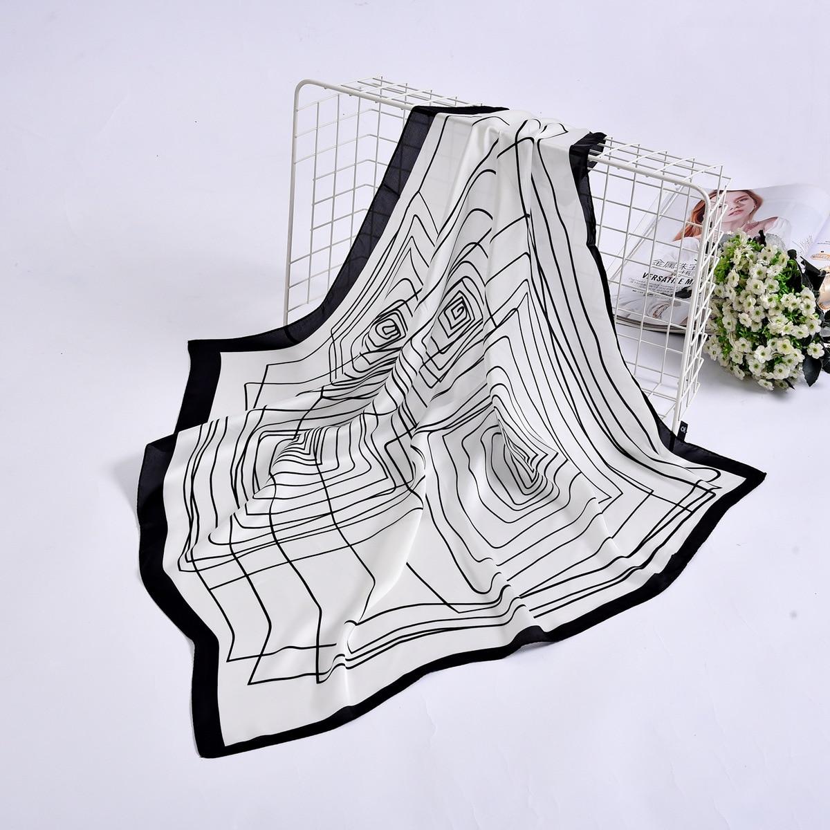 Small Kerchief Silk Satin Hair Scarf For Women Fashion Striped Print Bag Scarfs Female 70cm Square Shawl Neck Scarves For Ladies