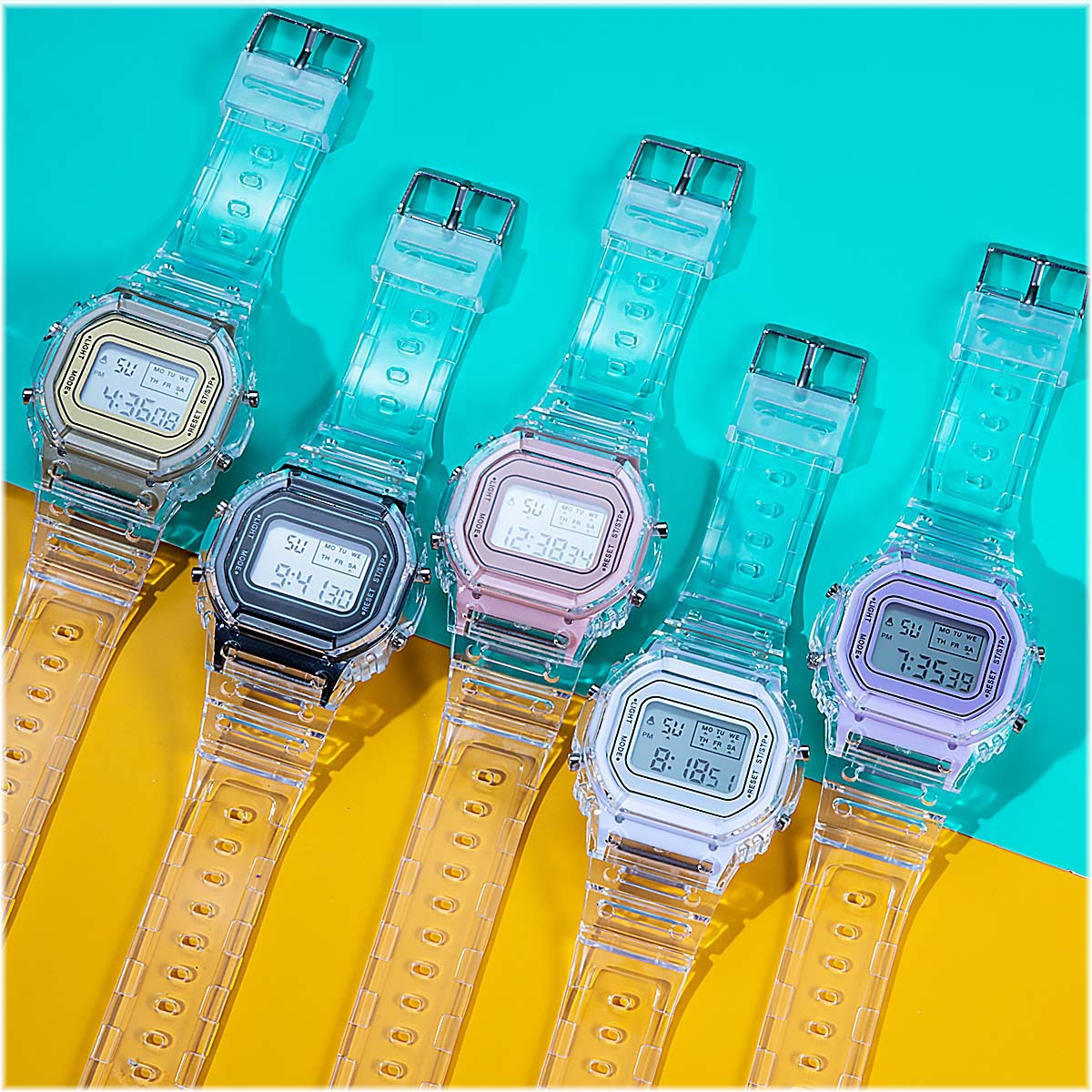 INS Fashion Men Women Watches Casual Transparent Digital Sport Watch Ladies Electronic Watches Kid