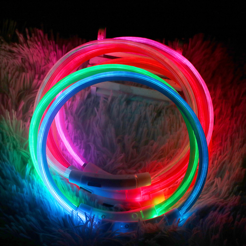 USB Rechargeable LED Pet Dog Collar Flashing Glow Glowing Luminous Night Dog Collars