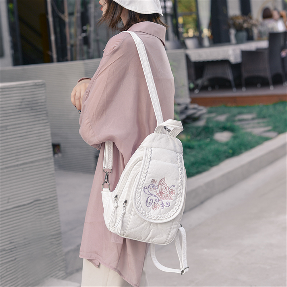 Image 3 - Butterfly Embroidery Sheepskin Women Backpack 3 in 1 Soft Genuine Leather Chest Bag For Mother Ladies  Large Capacity BagpackBackpacks   -