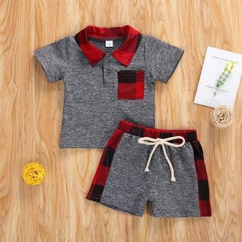 2Pcs Baby Boy Clothing Set, Casual Short Sleeve Shirt Top + Drawstring Elastic Waist Shorts Set