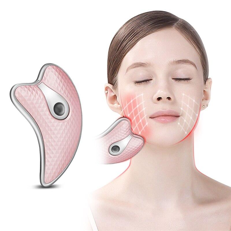Guasha skrobanie masażer twarzy LED Light Microcurrent odmładzanie skóry elektryczne urządzenie do masażu ciała Lifting twarzy odchudzanie 45