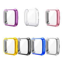 цена на For Fitbit Versa Lite Watch Screen Protective Cover TPU Electroplating Anti-Drop Watch Case