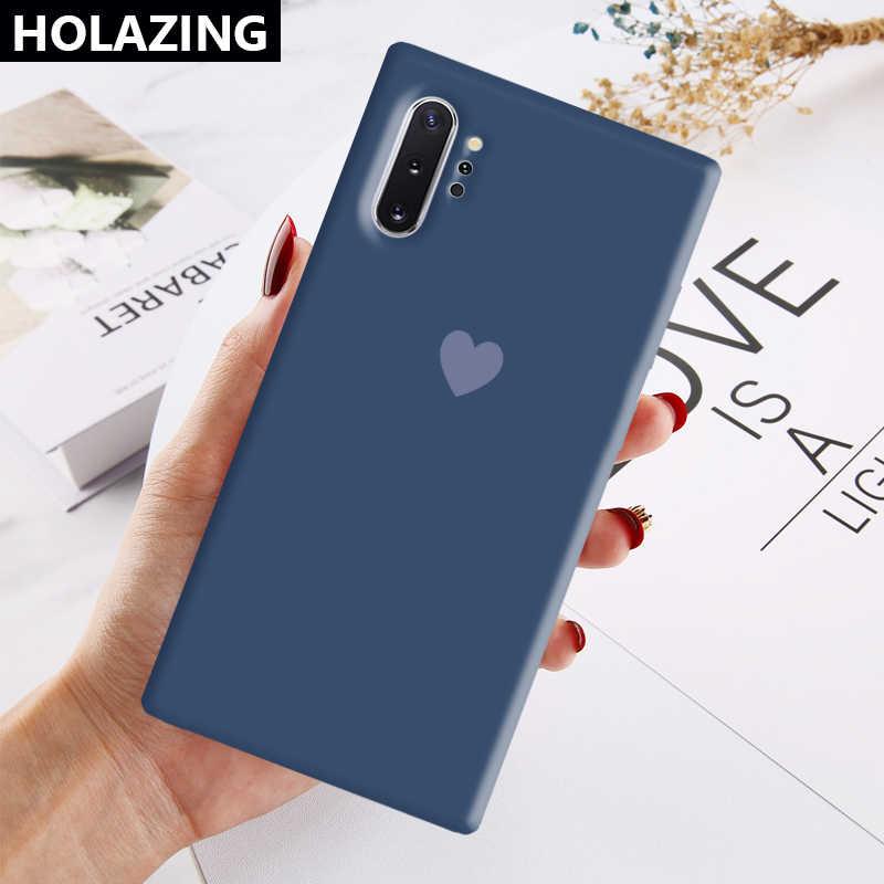 Samsung Galaxy S20 Ultra not 10 artı S10 S9 S8 not 10 9 8 şeker kalp eşleşen renk yumuşak silikon kapak Coque Funda
