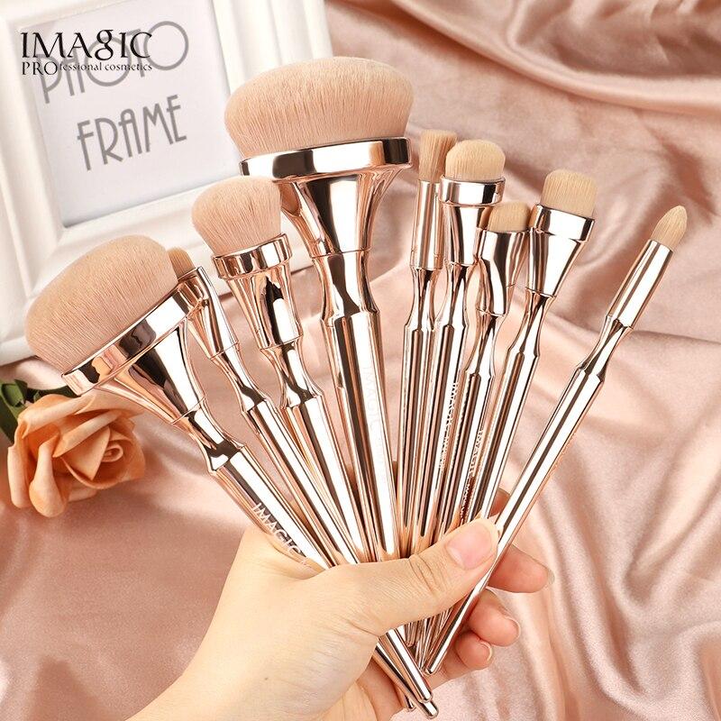 IMAGIC 9 Uds Kit de brochas de Maquillaje cepillo de mezcla de pelo de Nylon suave Mango metálico maquilaje Profesional oogschamuw conjunto de herramientas
