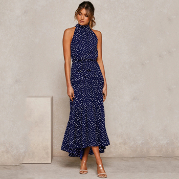 Summer Long Dress Polka Dot Casual Dresses Black Sexy Halter Strapless New 2020 Yellow Sundress Vacation Clothes For Women 7