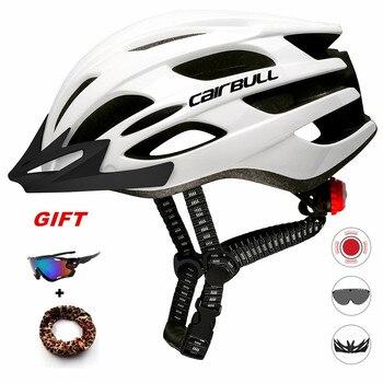 Cairbull capacete de ciclismo respirável, com viseira removível, óculos de bicicleta, lanterna traseira, segura, capacetes de montanha e estrada mtb 1