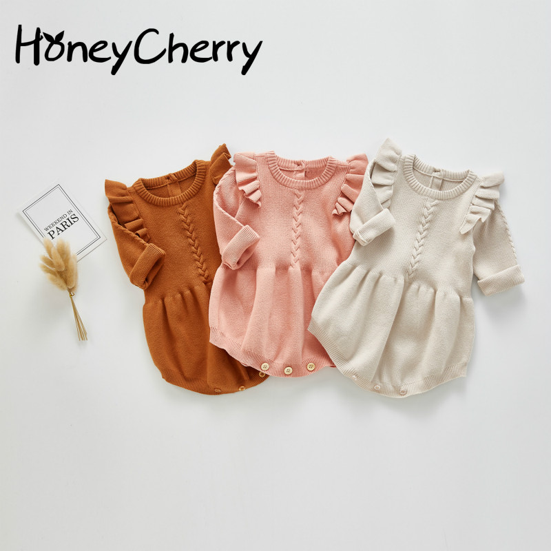Spring And Autumn Baby Girl Bodysuits Newborn Triangle Creeper Baby Girl Fart Wrap Small Fly Sleeve Knitted Baby Bodysuit