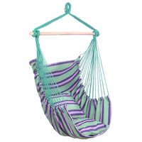 【US Warehouse】Distinctive Cotton Canvas Hanging Rope Chair with Pillows Green Free Shipping Drop Shipping