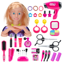 35Pcs Children Makeup Pretend Playset Styling Head Doll Hairstyle Toy With Hair Dryer For Children Educational Toys Gift - 5803A