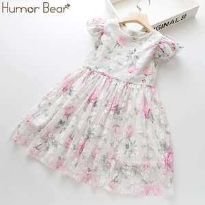 Humor Bear Summer Brand New Girls Dress Flowers Lace Silk Dress Fashion Girls Round Neck Flying Sleeve Dress Baby Kids Clothing(China)
