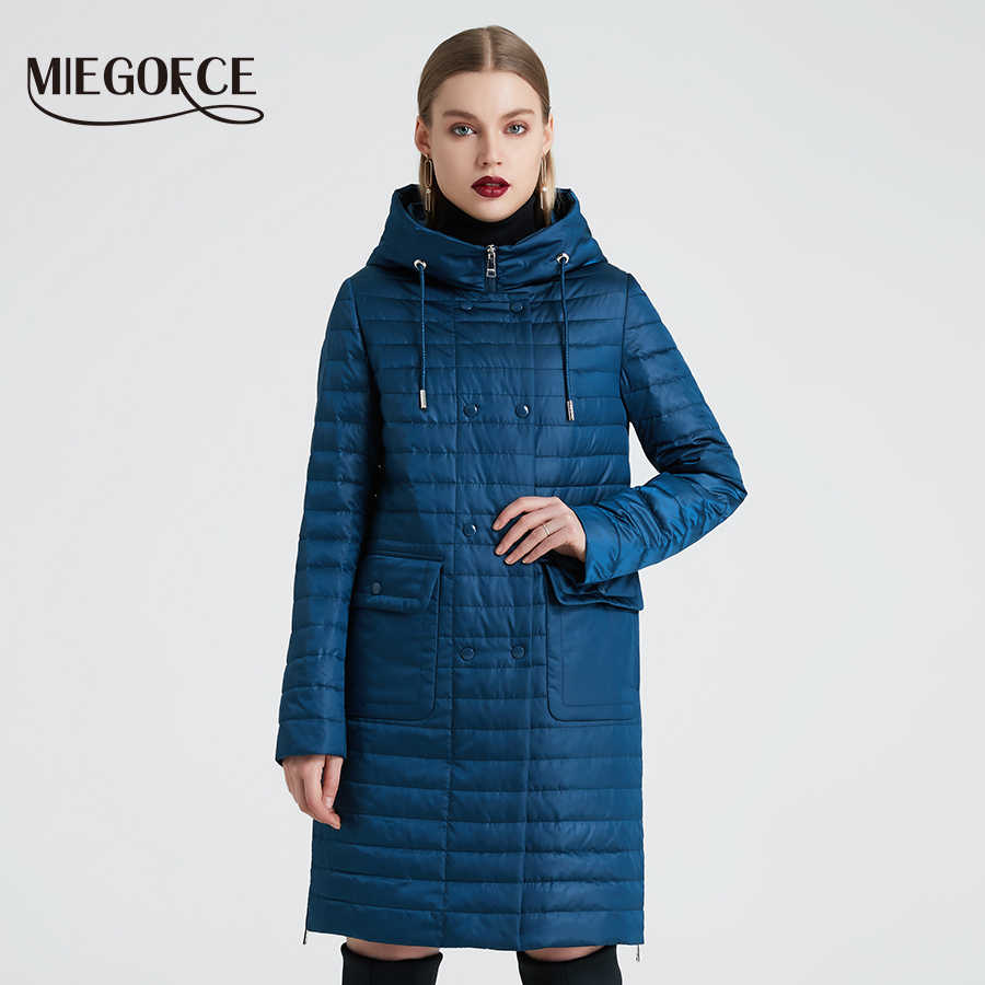 MIEGOFCE 2020 New Collection 여성용 스프링 자켓 후드 및 패치 포켓이있는 세련된 코트 윈드 트렌치에서 이중 보호