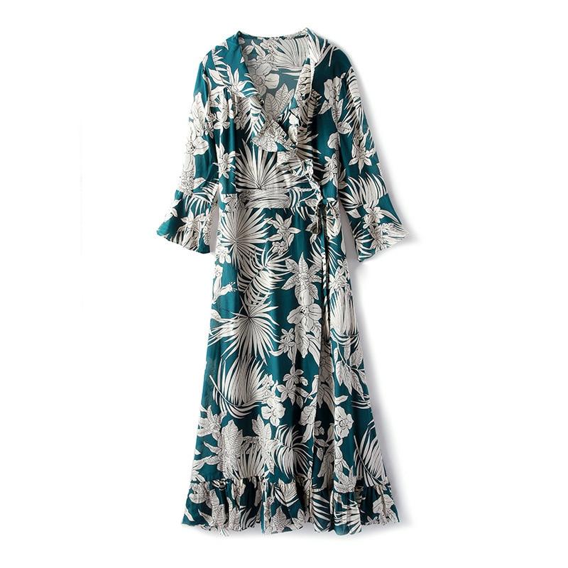 Summer 2019 New Temperament V-neck Ruffled Silk Printed Dress For Women Half Sleeve Elegant Female Dress