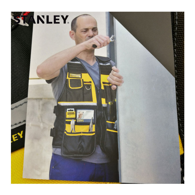 Stanley Fatmax multi pocket vest for tools in black yellow reflective safety strip adjustable strap workwear men work tool vests 4
