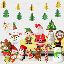 Aluminum Foil Snowman Santa Claus Xmas Tree Elk Candy Shape Merry Christmas Helium Balloon For New Year Party Decor