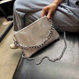 Стильная маленькая сумка в стиле хип-хоп с цепочкой, женская сумка через плечо, оригинальная Альтернативная Сумка-конверт с блестками