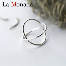 925 Sterling Silver Geometric Double Line Opening Rings Elegant Cross Ring Jewelry for Anniversary Gift Adjustable цены