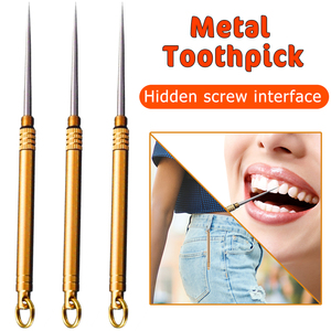1Pcs Titanium Outdoor Edc Portable Multifunctional Toothpick Fruit Fork Camping Tool Toothpick Oral Care Tools Tooth Picks