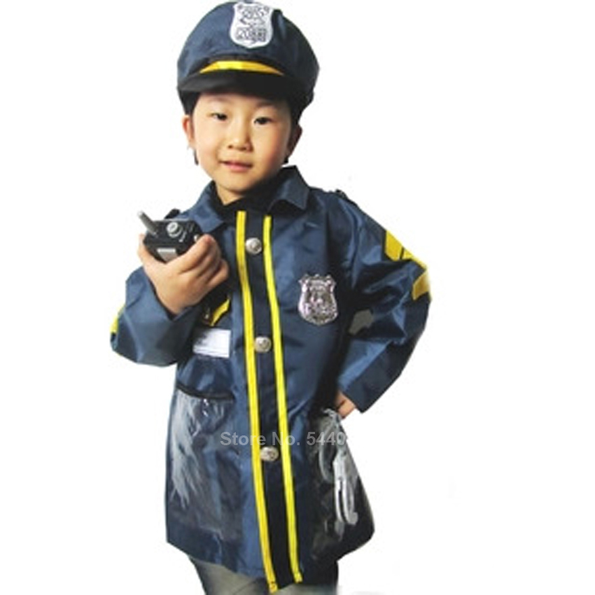 Kids Simulation Policeman Uniform Cosplay Costume For Kids Baby Boy Girl Children's Day Party Stage Performance Pretend Toy Set