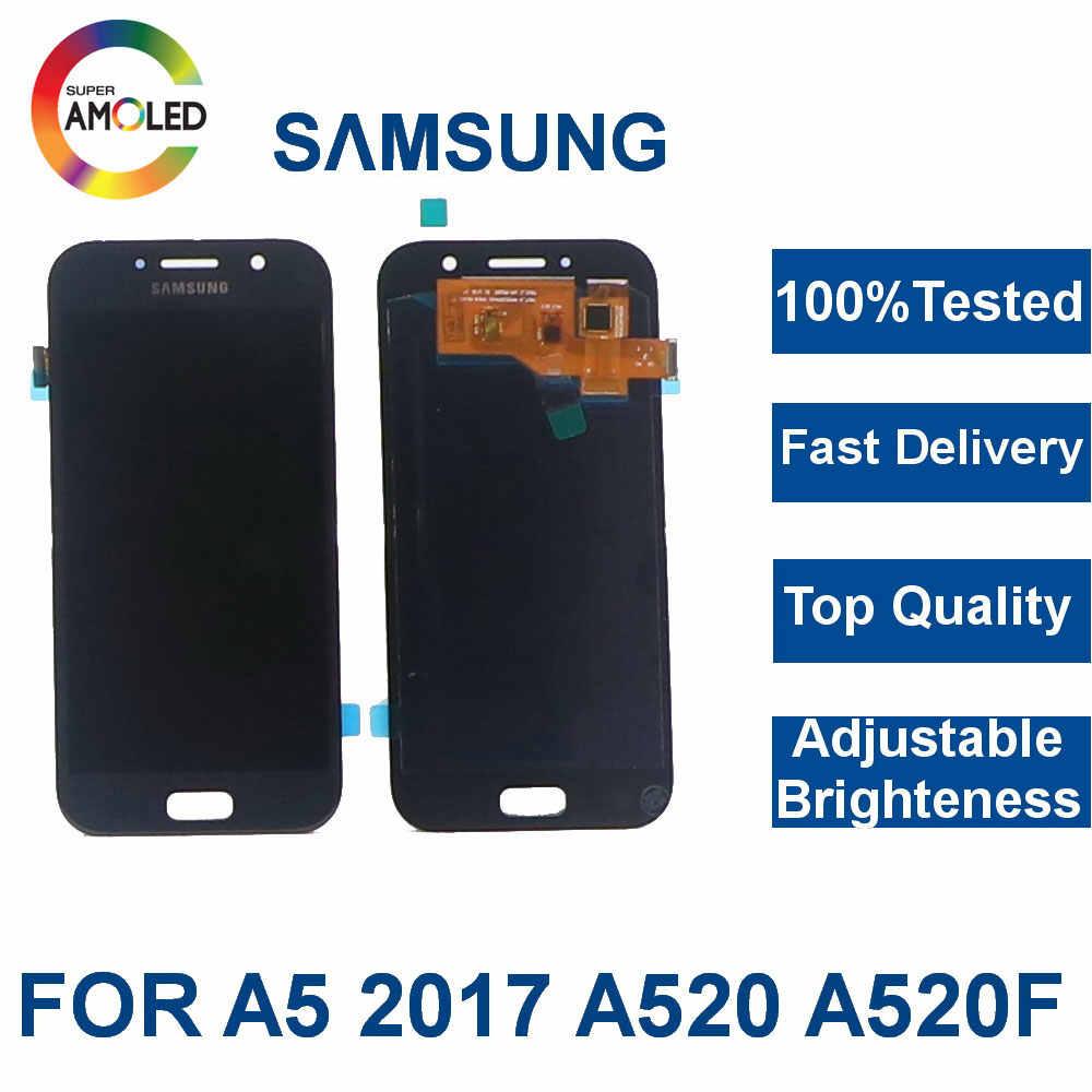 100% اختبار سوبر AMOLED شاشات lcd لسامسونج غالاكسي A5 2017 A520 A520F SM-A520F شاشة هاتف LCD مجموعة المحولات الرقمية لشاشة تعمل بلمس