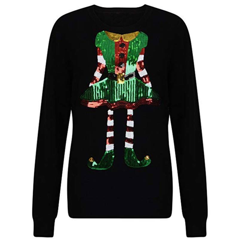 Hot Women Autumn Hoodies Long Sleeve O-Neck Christmas Sequins Hoodie Pullover Warm Female Streetwear Sweatshirt