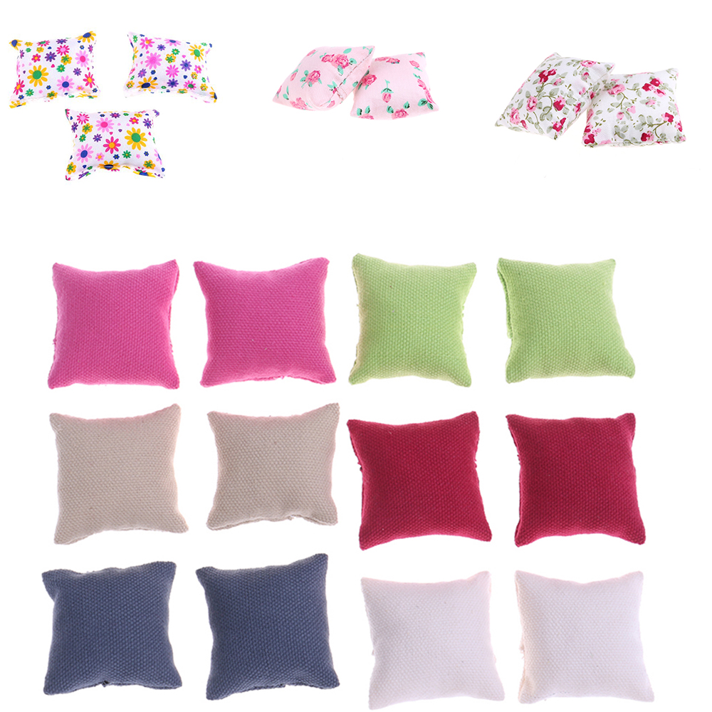 1/2/3Pcs Pillow Cushions For Sofa Couch Bed 1/12 Dollhouse Miniature Furniture Toys Without Sofa Chair Baby Christmas Gifts