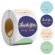 500 pces/rolo da folha de ouro obrigado você etiqueta selos de papelaria etiquetas círculo estadia segura ser bem com coração feito à mão etiqueta para embalagem