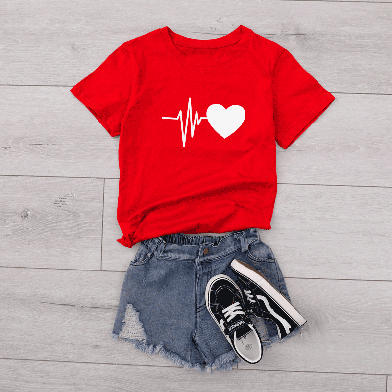 Mother And Kid Cute Heart T Shirt | Red